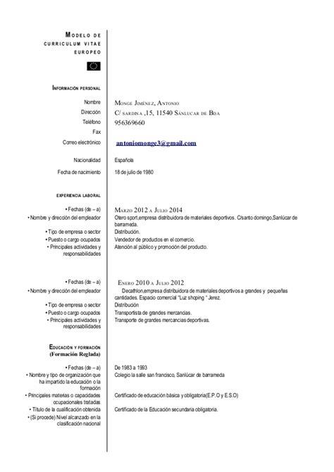 Modelo Curriculum Vitae Modelo Europeo Modelo De Curriculum Vitae Europeo Modelo De Curriculum Vitae