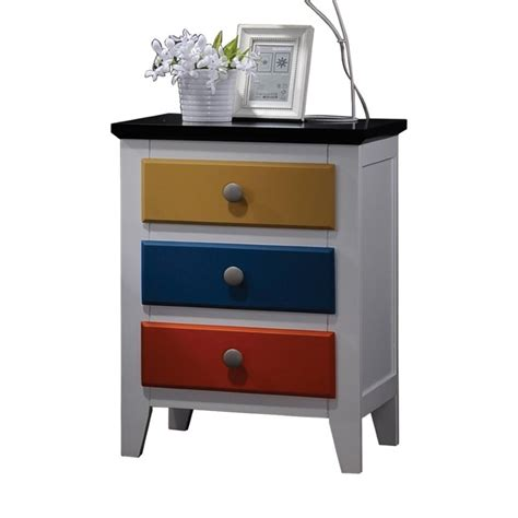 L For Nightstand Acme Furniture Brooklet Nightstand In White And Multi Color 25457