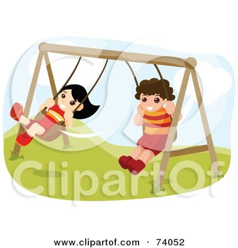 swing girl recess royalty free rf clipart illustration of two happy boys