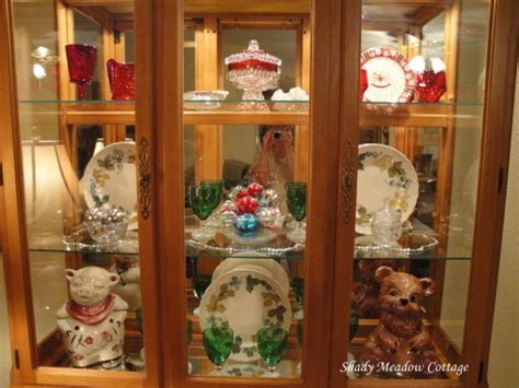 how to decorate a china cabinet with dishes china cabinet decorated for shady meadow cottage