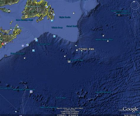 Where Did Titanic Sink Earth by Googleocean Titanic Earth Version 5 With All