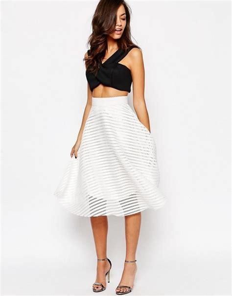 new look new look stripe mesh midi skirt