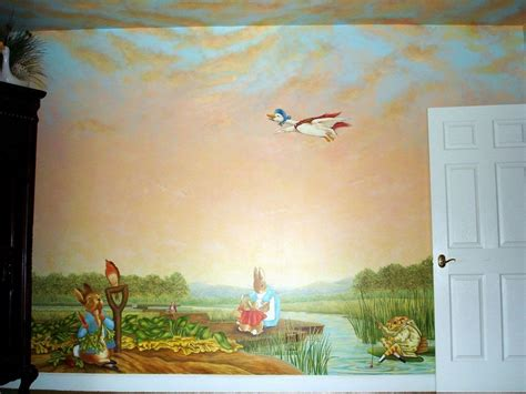 Handmade Wall Murals - handmade rabbit mural inspired by beatrix potter by