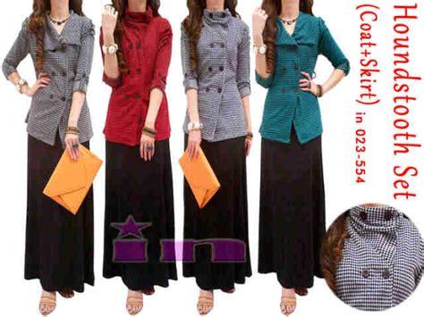 Maxi Setelan Muslim 3in1 Murah houndstooth coat bhn houndstooth skirt rayon spdx maxi dress murah jakarta supplier