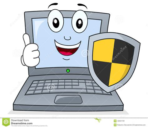 Anti Virus Laptop laptop or notebook with shield antivirus stock vector