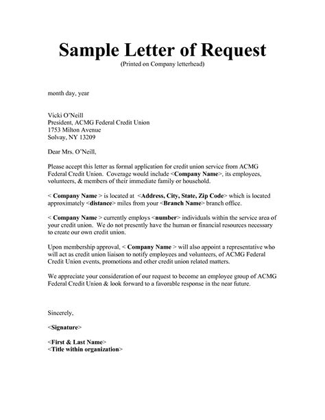 Request Letter To Template Of Request Letter