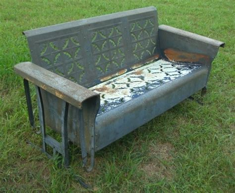 vintage metal glider bench pin by priscilla lejeune on vintage pinterest