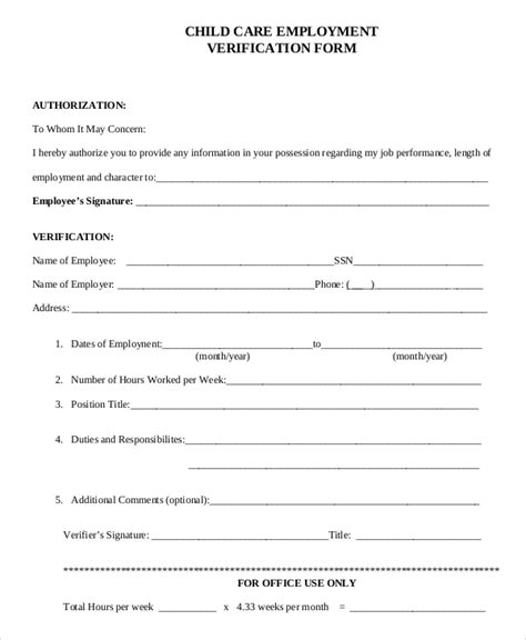 child care employment application template sle verification of employment form 10 exles in
