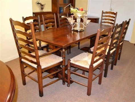 antique solid oak refectory dining table and 8 chairs at antique solid oak refectory dining table 8 chairs
