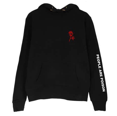 Swater Hoodie Jumper Sonor Black 1 are poison sleeve print hoodie sweatshirt black inspired aesthetic pale