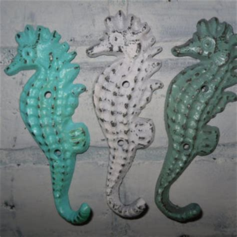 seahorse bathroom decor seahorse hook trio metal wall hook cast iron nautical decor beach decor