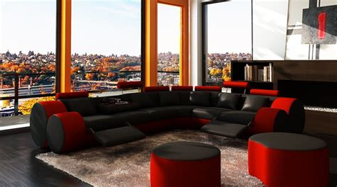 red and black sectional 3087 modern black and red leather sectional sofa and