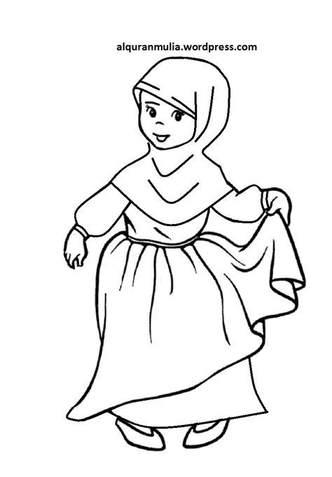 mewarnai gambar anak perempuan mewarnai gambar gambar gambar mewarnai kartun muslim terbaru