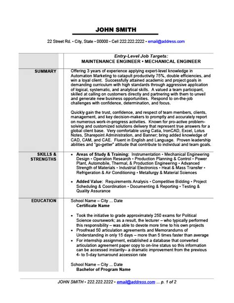 download experienced mechanical engineer sample resume