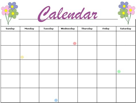 Free Activity Calendar Template by Calendar Template Calendar