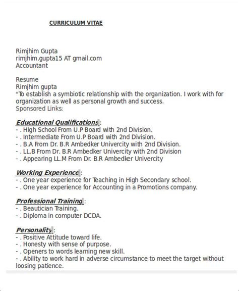 resume format for accountant freshers pdf 26 accountant resume format