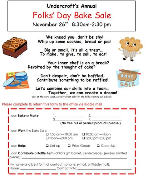 How To Make A Bake Sale Flyer Folks Day Bake Sale Flyer 2013 Sweet Treats