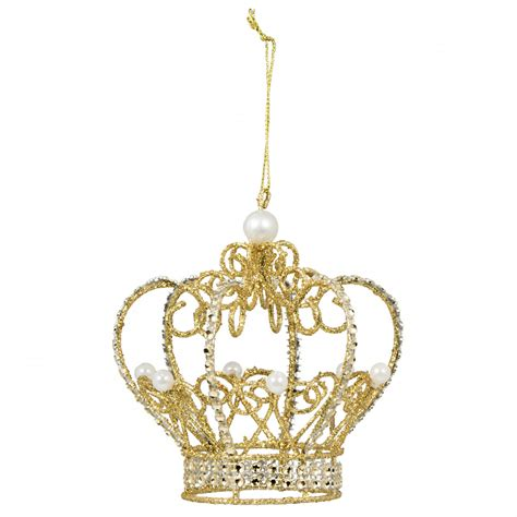 4 quot gold metallic wire pearl crown ornament 20420