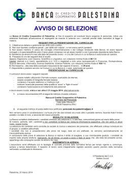 credito cooperativo palestrina elenco ammessi non ammissibili