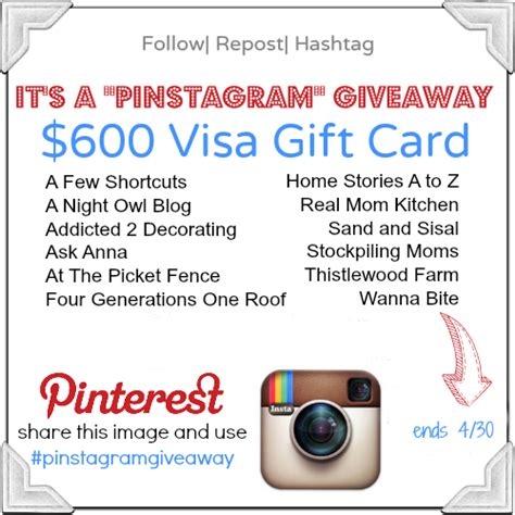 Giveaway Instagram - it s a 600 visa quot pinstagram quot giveaway at the picket fence