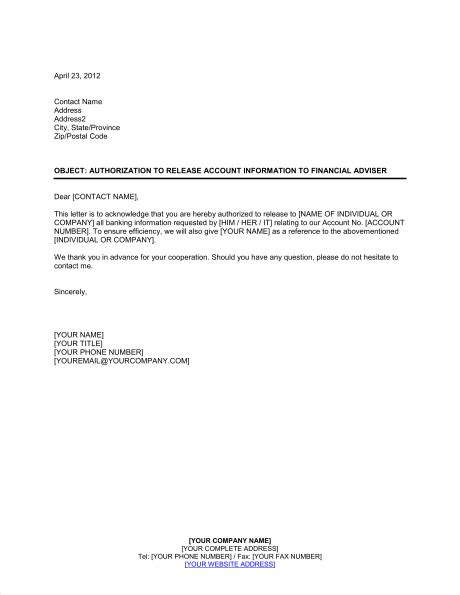 authorization letter for account authorization to release account information template