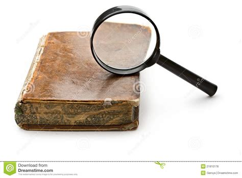 Novel Glass magnifying glass and book stock photo image 21810178