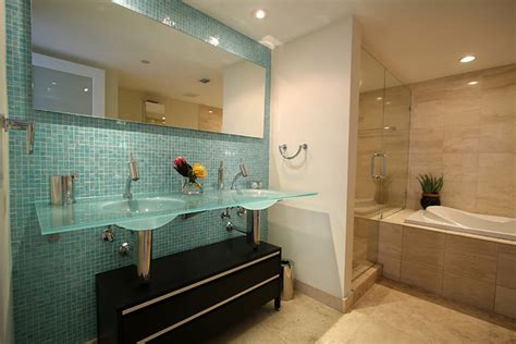 Aqua Glass Tile Bathroom Eclectic With Blue Tile Glass Aqua Glass Tile Bathrooms