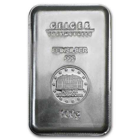 100 Gram Silver Bars by 100 Gram Silver Bar Geiger Security Line Series All