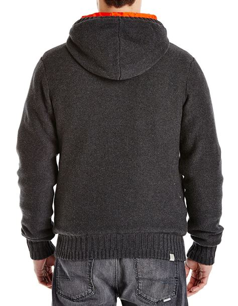 bench coats for men bench hooded knit jacket in black for men lyst