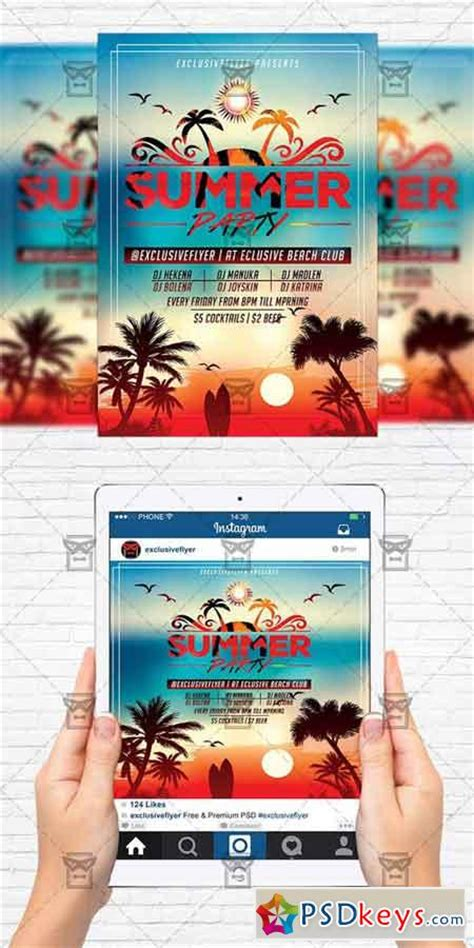 Summer Sunset Party Flyer Template Instagram Size Flyer 187 Free Download Photoshop Vector Instagram Flyer Template