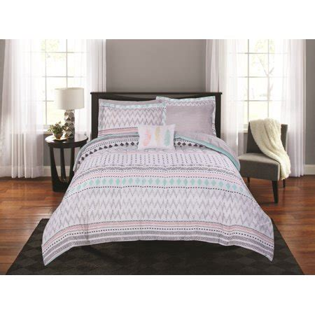 queen mainstays urban stripe bed in a bag coordinated bedding set mainstays aztec stripe bed in a bag coordinating bedding set walmart