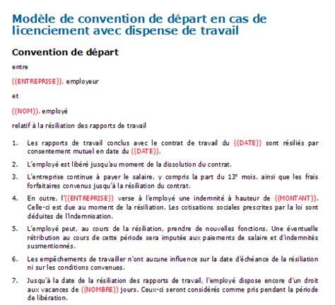 Exemple Lettre De Licenciement Suisse Contrat De Travail Type Suisse