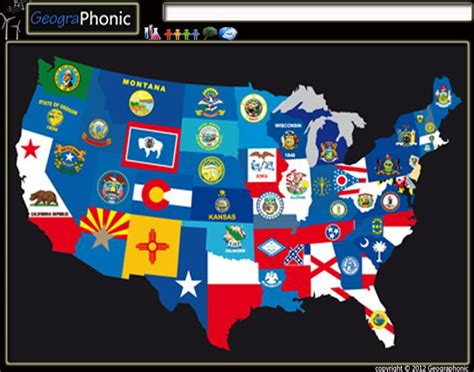 usa map quiz purposegames map of flags united states of america