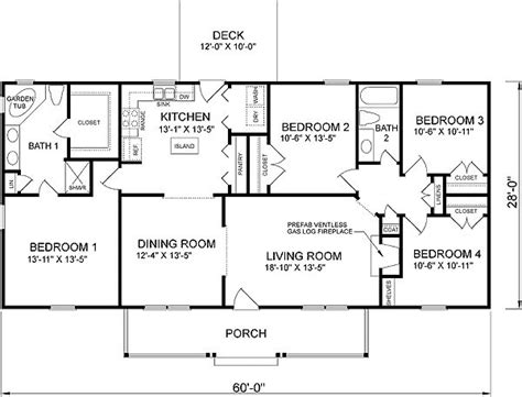 four bedroom floor plan plan 46036hc country cottage home plan house plans 4 bedroom house and house