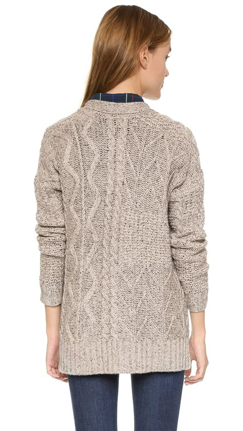 madewell marled patchwork cable cardigan in gray lyst