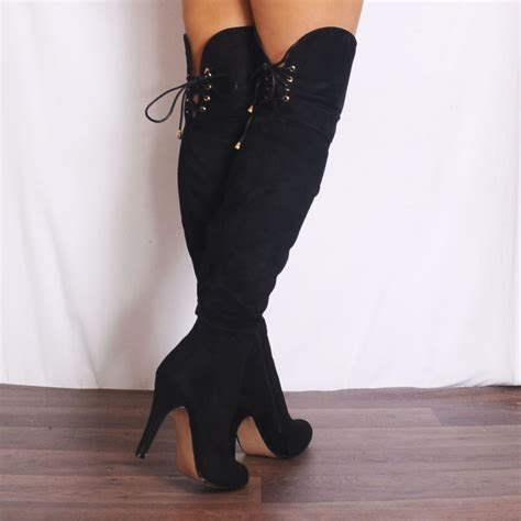 shaba3 black faux suede knee high the knee