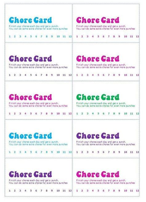 Chore Punch Card Template by Chore Punch Cards Raising Children Punch