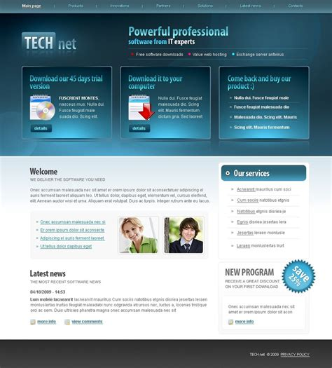 template software software company website template 23952