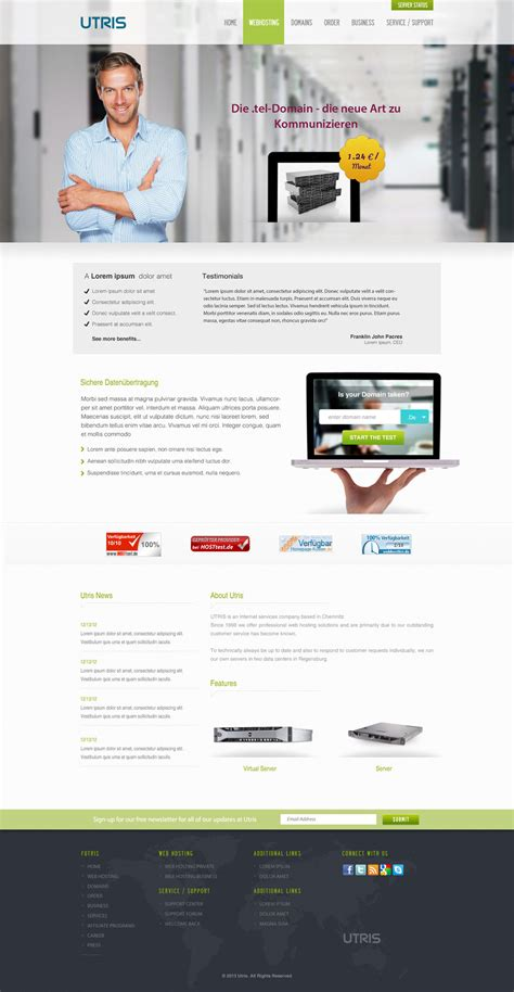 free web hosting template utris a free web hosting psd website template by