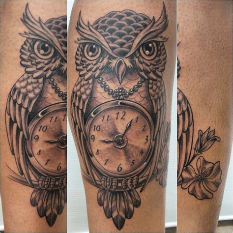tatuagem coruja e rel 243 gio coruja owl relogio clock
