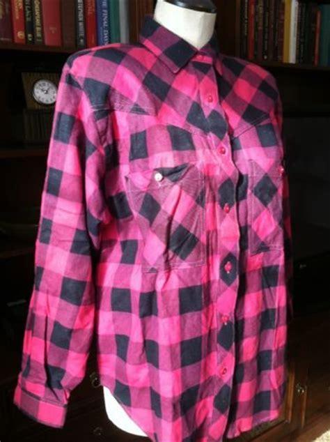 vintage pink  black plaid flannel shirt pdee vintage