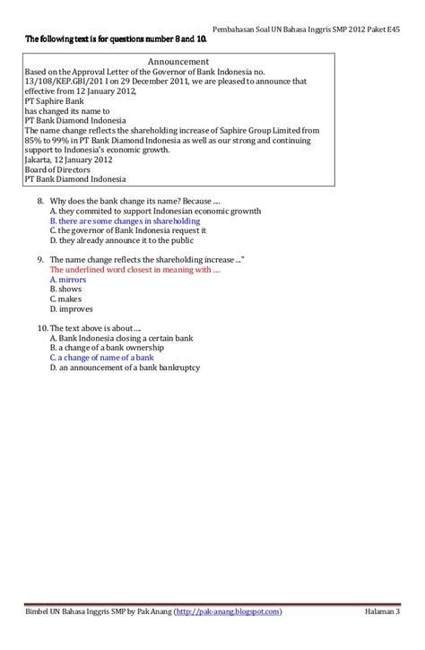 letter bahasa inggris smp pembahasan soal un bahasa inggris smp 2012 paket soal e45