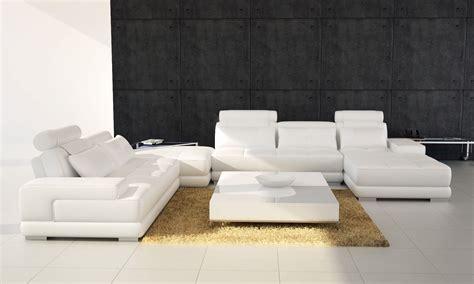 Contemporary White Leather Sofas Phantom Contemporary White Leather Sectional Sofa W Ottoman