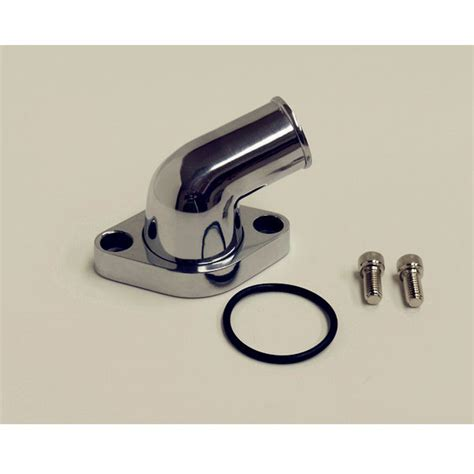 polished aluminum water neck thermostat housing sbc chevy