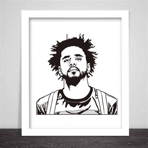 J Cole Drawing Easy by J Cole Poster 3 Sizes Jcole Dreamville Coleworld