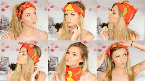 different ways to wear a bandana with short hair 6 ways to wear a bandana festival hairstyles youtube