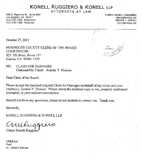 Thank You Letter For Insurance Claim Claim Against Da Alleges Corruption Discrimination Harassment May 8 2012 The Arcata Eye
