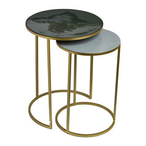 side table set of 2 buy pols potten enamel side table set of 2 green grey