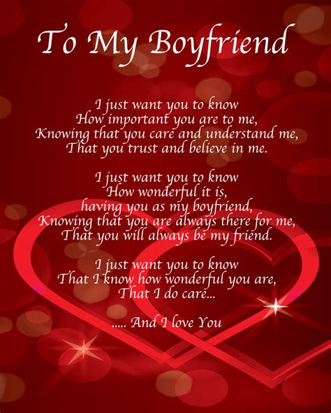 To My Boyfriend Poem Birthday Valentines Day