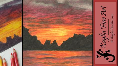 sunset colored pencil tutorial how to draw a sunset in coloured pencils